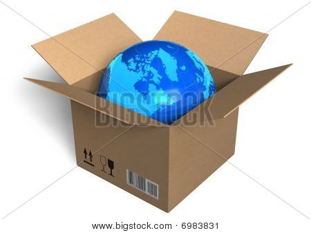 Earth globe in box