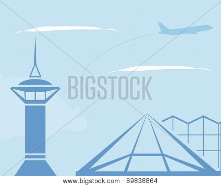 Airport. Control Tower And Terminal Building