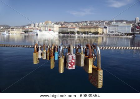 Love Locks In A Port Of Rijeka,Croatia