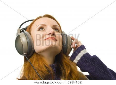 Beautiful Attractive Smiling Woman With Headphones