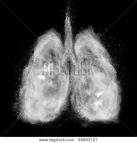 Lungs made of white powder explosion isolated on black background