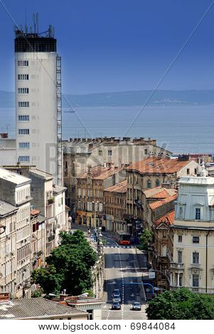Strossmayer Street And Hotel Neboder In Rijeka,croatia