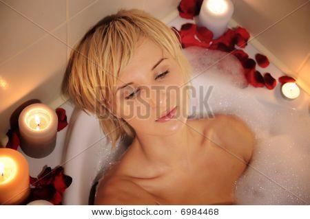 Nude Woman In Foamy Bath