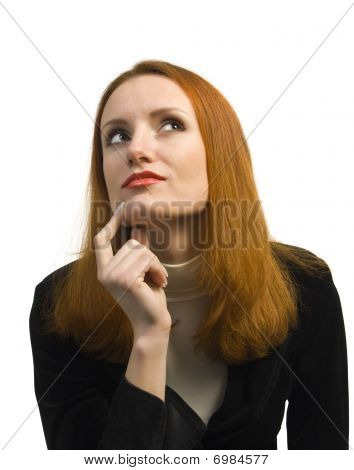 Thoughtful Doubting Business Woman