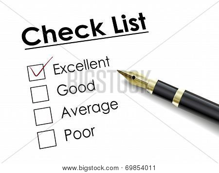 Tick Placed In Excellent Check Box With Fountain Pen