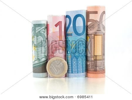 Euro Rolled Bills And Coin