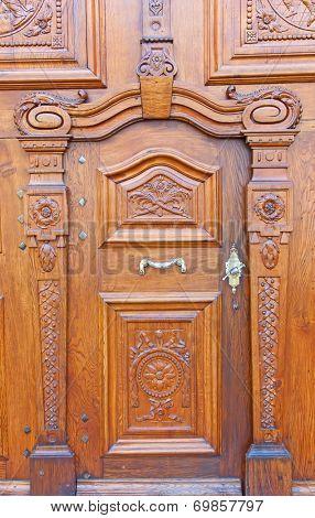 Wooden door of the Roman Catholic Abbey in Sankt Gallen, Switzerland
