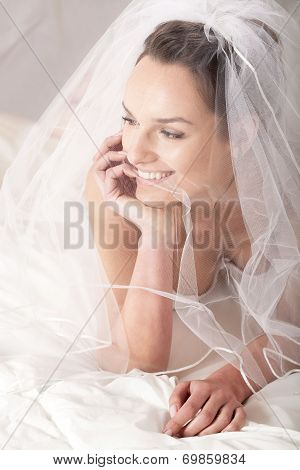 Pretty Bride In Bed