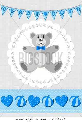 Toy animal teddy bear on white doily with flag banner and ribbon blue baby boy room illus