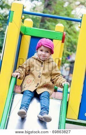 Cute Toddler On Slide