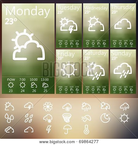 Weather Widget UI set .