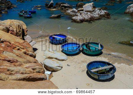 Basket boats at Ke Ga beach , Phan Thiet , Vietnam.