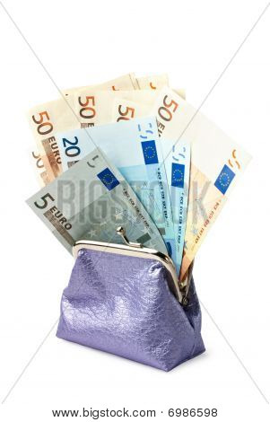 Purse With Money Isolated On White Background (clipping Path Included)