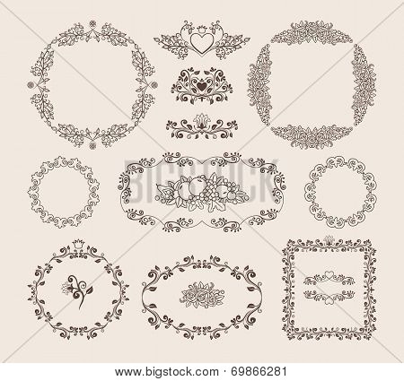 Set of ornamental vector frames and badges