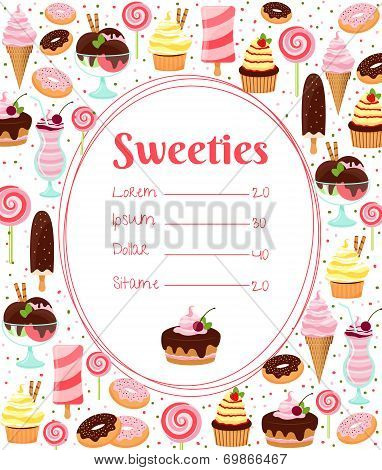 Sweets menu or price list template