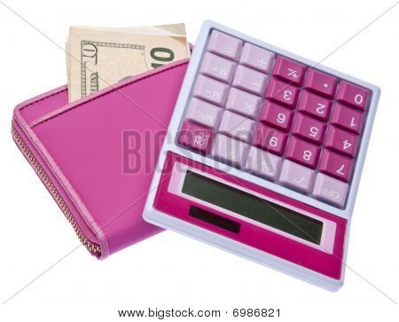 Pink Calculator With Money Filled Wallet