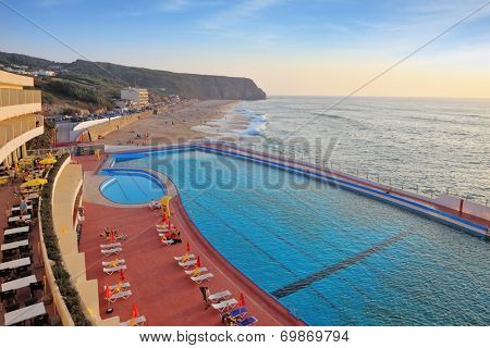 SINTRA, PORTUGAL - OCTOBER 1, 2011: huge beautiful pool on the beach. Atlantic coast, the Portuguese resort of Sintra, a prestigious hotel