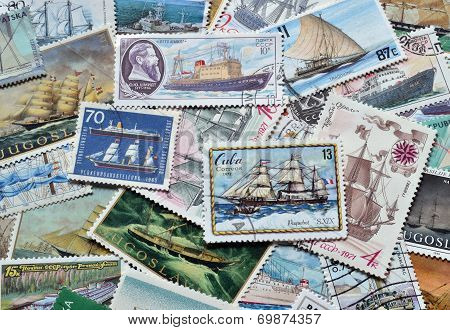 Ships on stamps