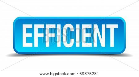 Efficient Blue 3D Realistic Square Isolated Button