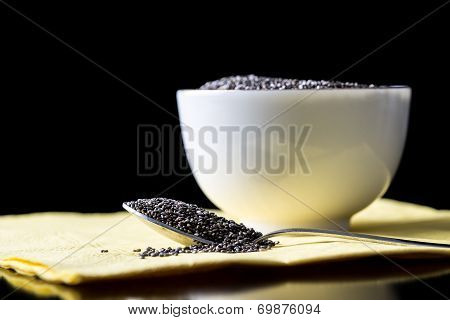 Aromatic Healthy Chia Seeds In A Spoon