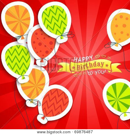 Happy birthday funny postcard with balloons. Vector