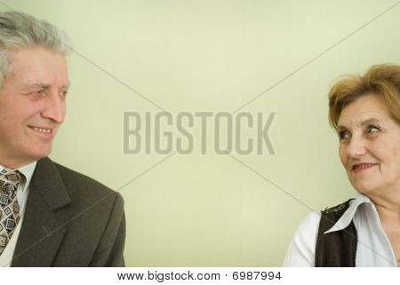 Beautiful Elderly Couple Businessmen Are Together