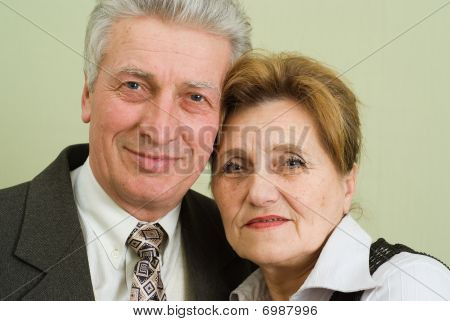 Beautiful Elderly Couple Businessmen  In The Office