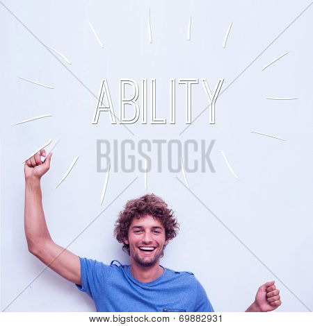 The word ability against happy student holding chalk