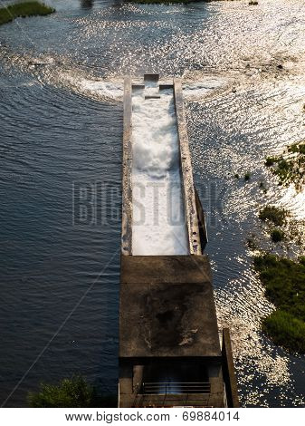 Floating Water In Cement Aqua Duct In.mae Suay Reservoir In Chiang Rai, Thailand