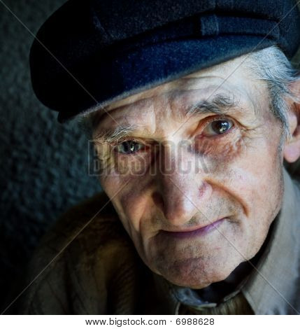 Artistic Portrait Of Friendly Senior Old Man