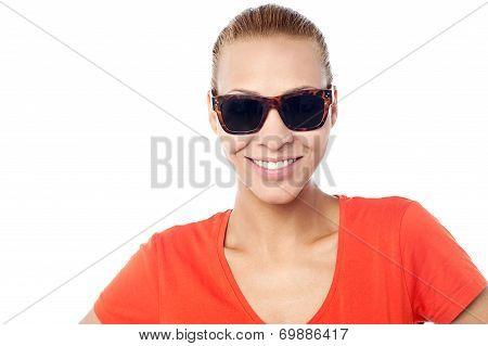 Smiling Fashion Woman Wearing Sunglasses