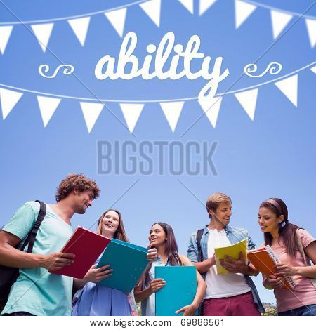 The word ability and bunting against students standing and chatting together