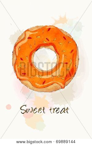 An iced doughnut with orange frosting and sprinkles, watercolour effect design. EPS10 vector format