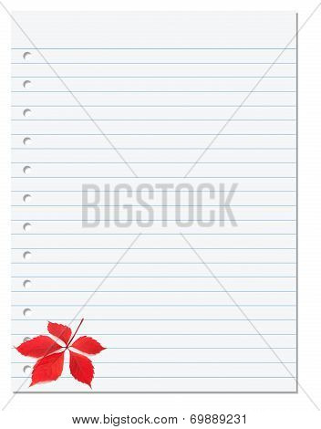 Notebook Paper With Red Autumn Virginia Creeper Leaf In Corner