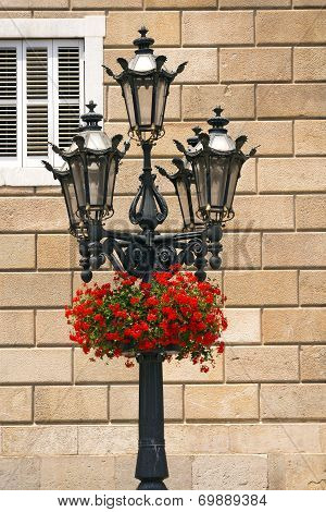 Flowers On Lamp Post - Barcelona Spain