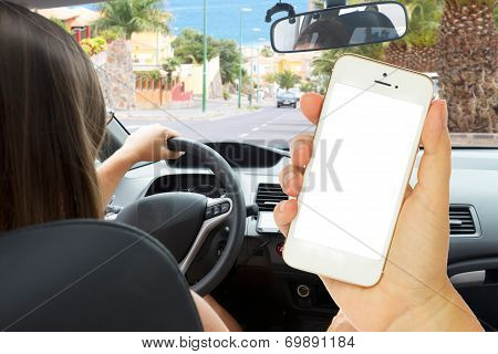Female Hand Holding A Phone With Empty  Screen