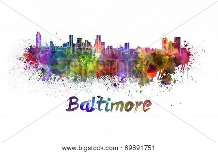 Baltimore Skyline In Watercolor