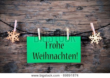 Green Tag With Frohe Weihnachten