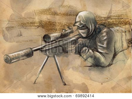 Shooter (sniper) - An Hand Drawn Illustration