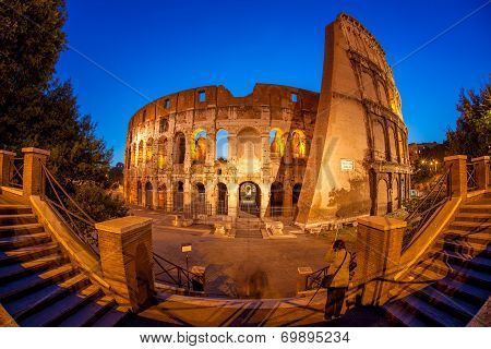 Famous landmark, old Colosseum in Rome, Italy