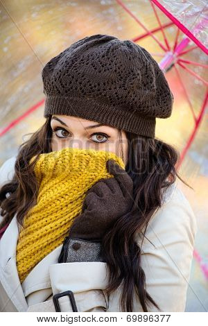 Woman Shivering Outside In Cold Autumn