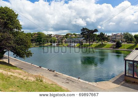 Boating lake Ryde Isle of Wight with blue sky on a summer day in this tourist town