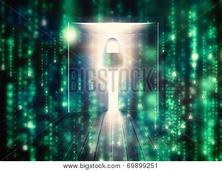 Lines of green blurred letters falling against padlock guarding door to bright light