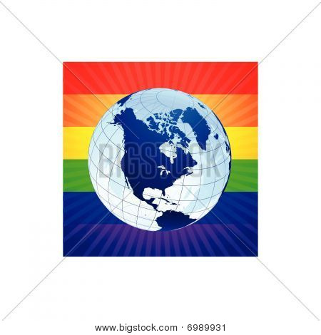 Globe With Rainbow Background For Gay Rights