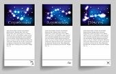 stock photo of capricorn  - Set or collection horoscope or zodiac or constellation capricorn aquarius pisces - JPG