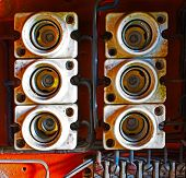 foto of fuse-box  - Ceramic fuses in the old electric box