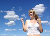 Happy Girl And Sky poster