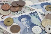 picture of japanese coin  - Japanese currency  bank notes and Japanese coin - JPG