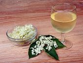 pic of elderberry  - Health drink from elderberry flowers on a wooden table - JPG