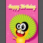 stock photo of monsters  - monster party happy birthday card design template - JPG